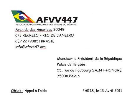 Lettre de l'association brésilienne à Sarkozy