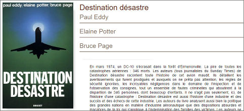 Image notice éditeur sur le livre 'DESTINATION DESASTRE'