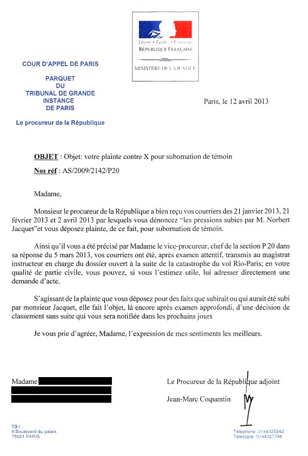 Lettre de Jean-Marc Coquentin, magistrat français