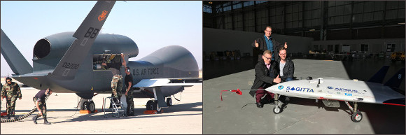 Image : HQ-4 Glabal Hawk et Sagitta dans son hangar